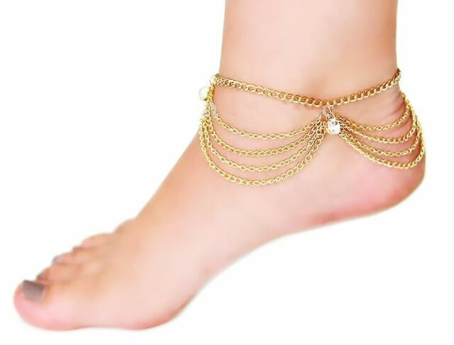 Multi Chain Anklet Bracelet Foot Link Barefoot Sandal Beach Ankle Beach Jewelry
