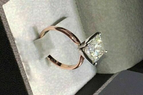 14k Solid Rose Gold Over 2.00 Ct Princess Cut Diamond Solitaire Engagement Ring