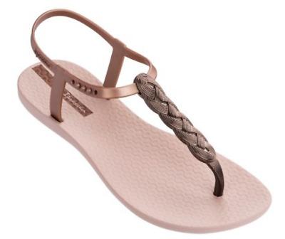 Ipanema Women`s Flip Flops Wave Heart Sandal Beige Bronze Brazilian Sandals NWT