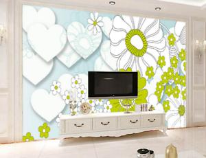 3D Heart Shape Daisy 7 Wall Paper Murals Wall Print Wall Wallpaper Mural AU Kyra