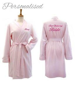 Image Is Loading Personalised PINK Jersey Wedding Bathrobe Dressing Gown Bride