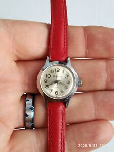 Westclox ladies mechanical movement red leather strap watch