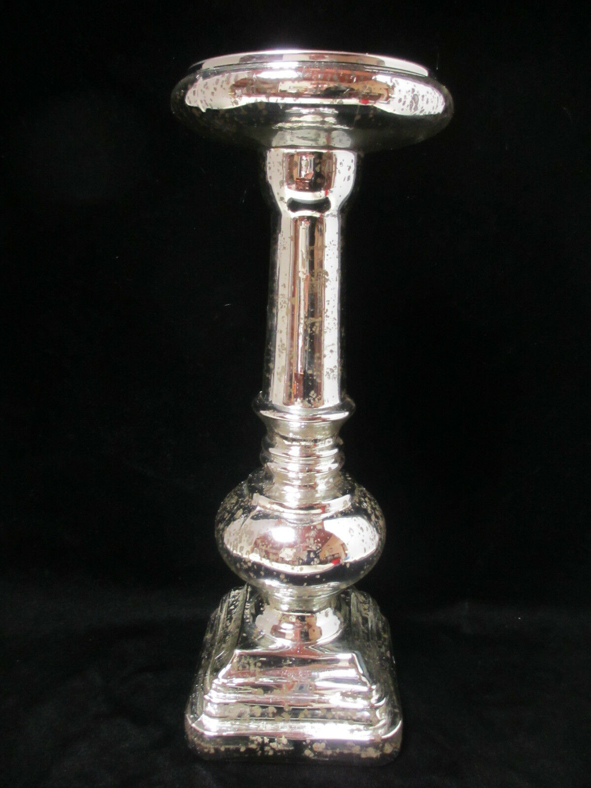 Pottery Barn Antique Mercury Glass Pillar Candle Holder 14 1 2  High Large NIB