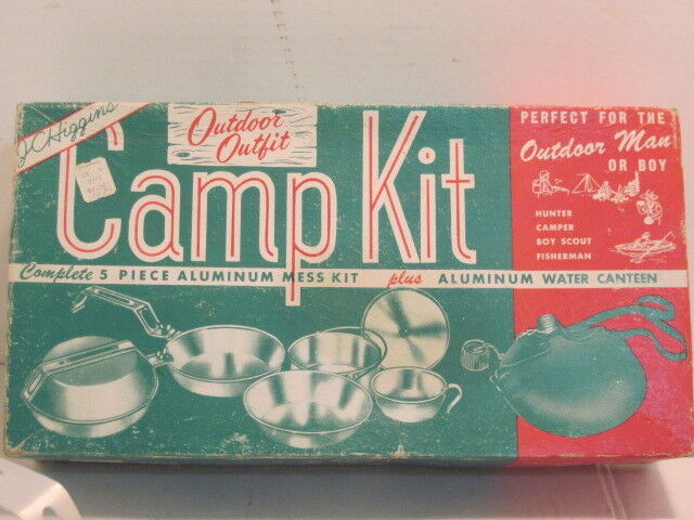 OLD JC JC OLD HIGGENS OUTDOOR ALLUMINUM CAMPING COOKWARE MESS KIT ORIGINAL BOX dd4246