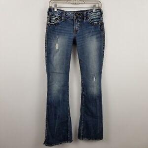 457907e3 Silver Frances Flare Distress Women's Medium Wash Blue Jeans Size 27 ...