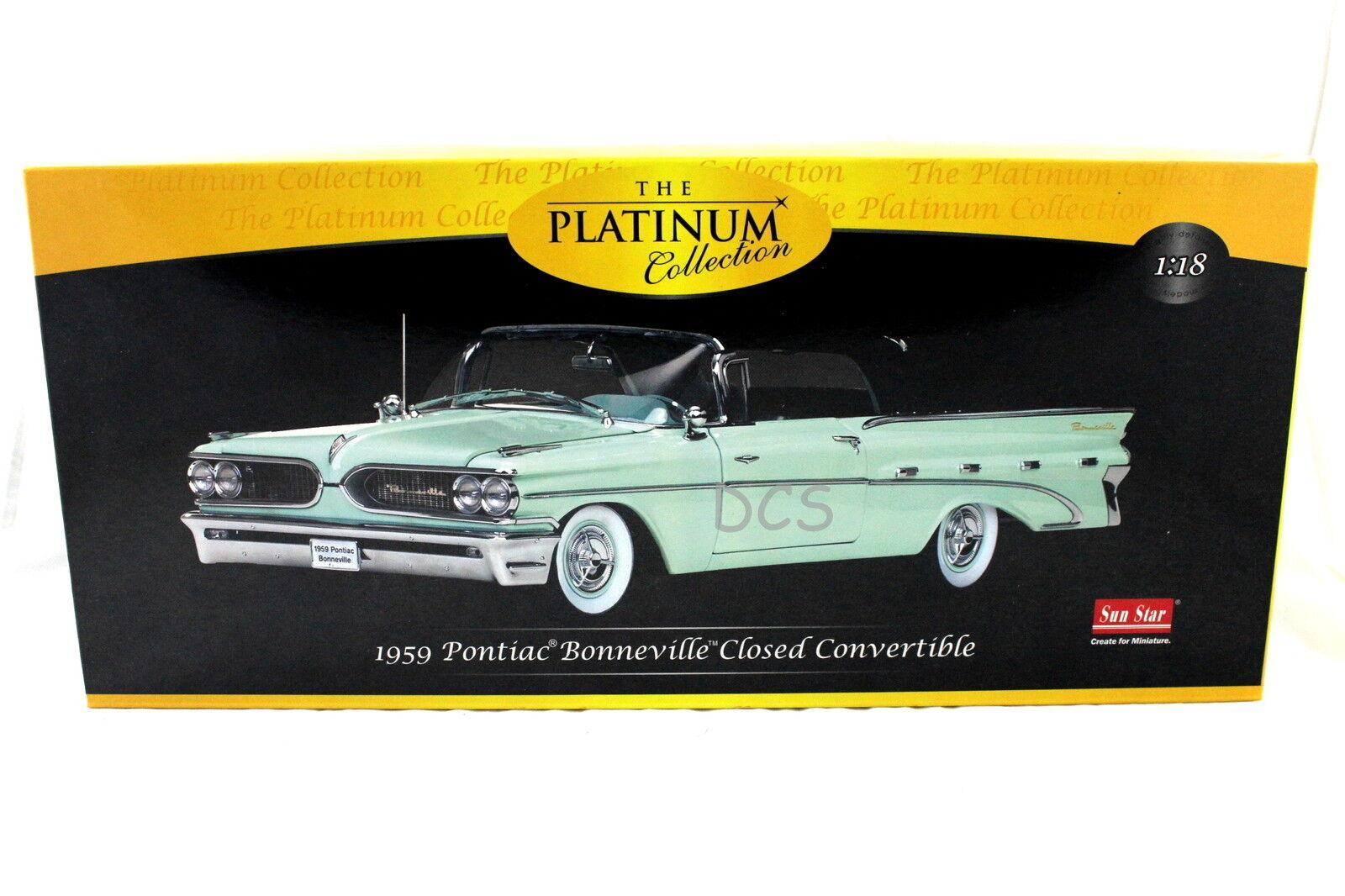 SUNSTAR 1959 Platine Pontiac Bonneville Fermé Convertible Vert 1 18 SS5192