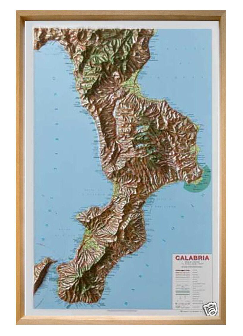 Cartina Calabria Immagini.Calabria Carta Regionale In Rilievo 62x93 Cm Cartina Mappa Global Map Ebay