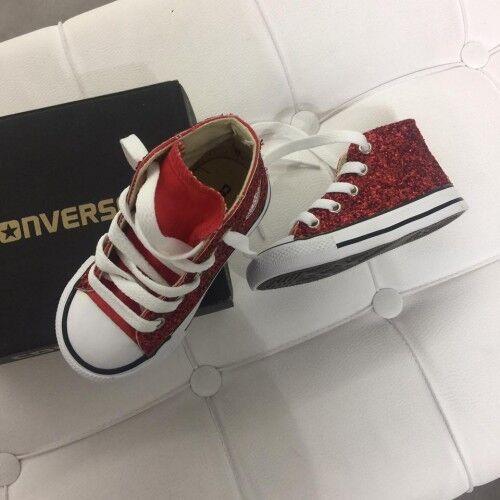 Star B Glitter Converse Rosso prodotto Personalizzato All Scarpe Brillantinate w15q5xHS