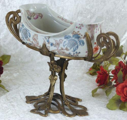 Schale Porzellan Bronze Obstschale Jugendstil Craquelle Antik Prunkschale Deko