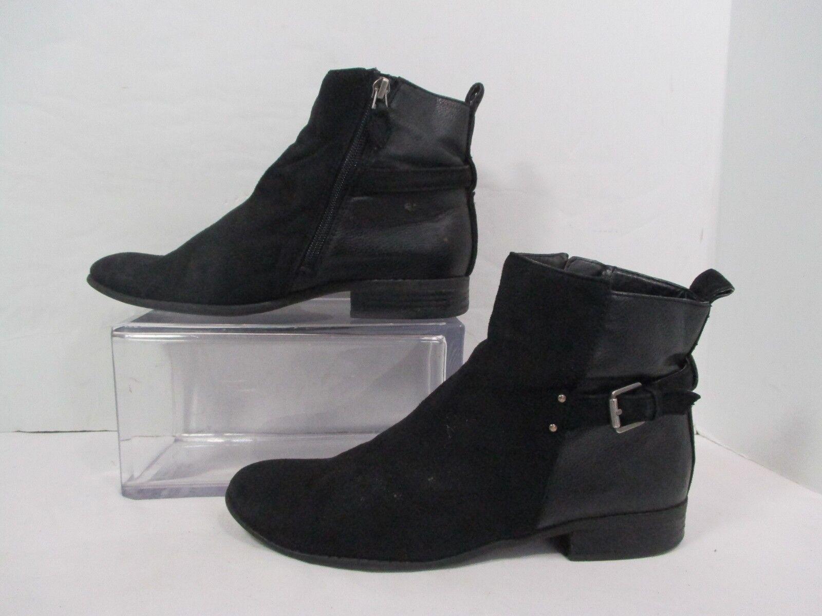 Franco Sarto  Black Ecth Side Zip Fashion Ankle Bootie Sz 8M
