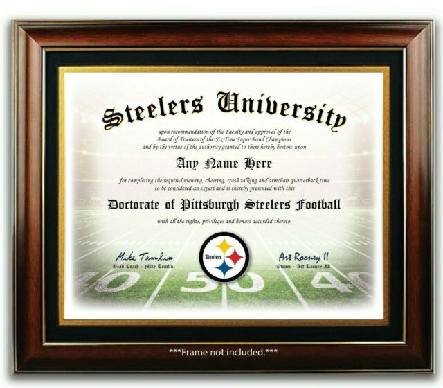 PITTSBURGH STEELERS NFL Football Fan Certificate / Diploma Man Cave GIFT Xmas
