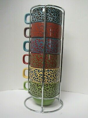 World Market Stacking COFFEE CUP/MUGS Soup Multicolor ...
