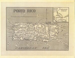 picture about Printable Maps of Puerto Rico named Information and facts relating to Fresh new Print Antique 1899 Map Puerto Rico San Juan Ponce Porto Caribbean Sea Artwork