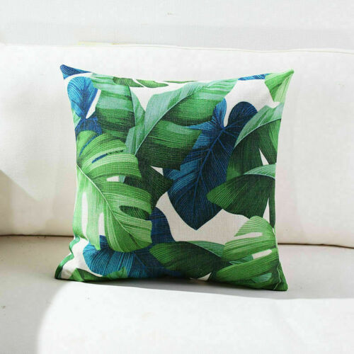 Cotton Linen Pillow Case Sofa Office Cushion Home Decor Leaf Geometry Pattern