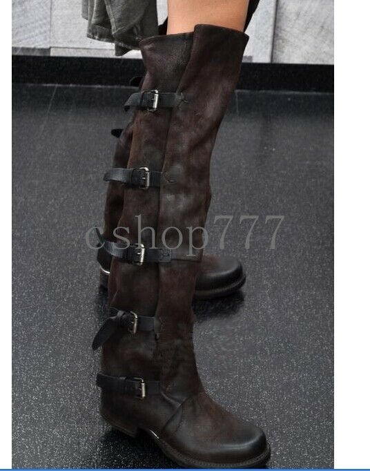 Womens Geniune Leather knight Buckle Knee High Boots Cowboy knight Shoes Us4-9