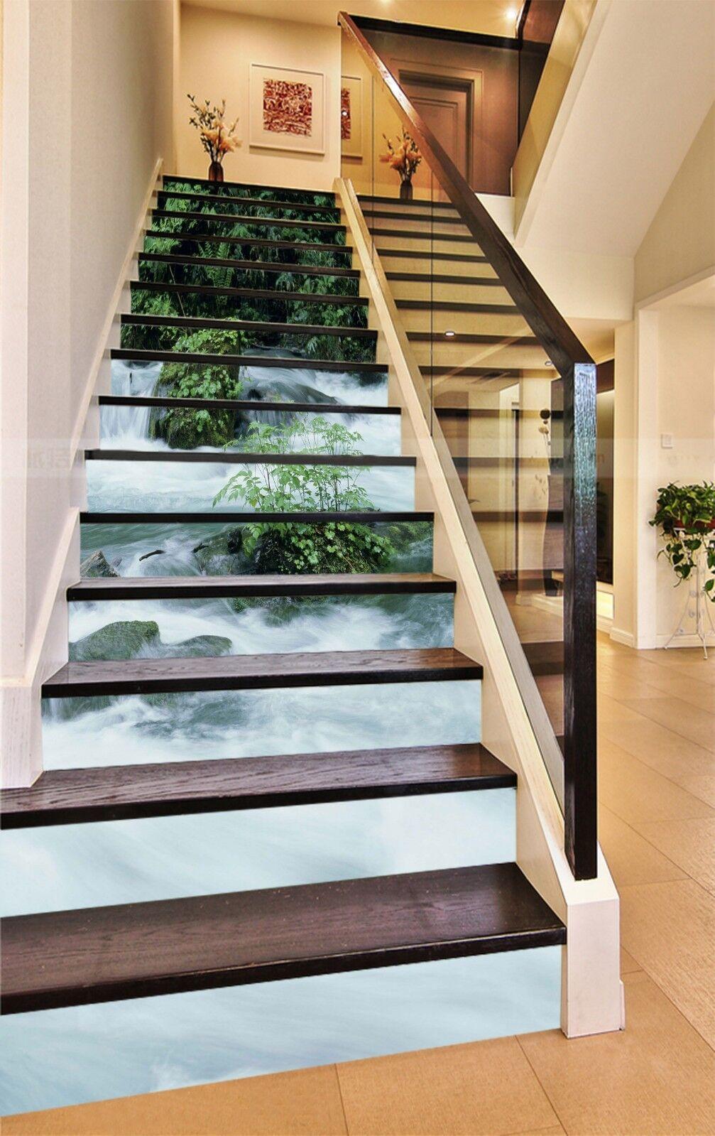 3D Fluss Flutsaison Stair Risers Dekoration Fototapete Vinyl Aufkleber Tapete DE