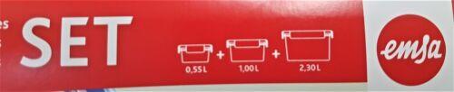 Emsa Set 3 pièces 0,55l+1l+2,3l Clip /& Close fraîcheur Joint Frischhaltedose NEUF