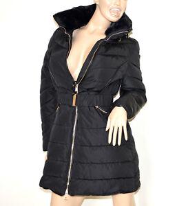 size 40 f6fa4 a27b9 Dettagli su PIUMINO NERO donna giubbotto lungo imbottito giaccone cappotto  eco pelliccia G3