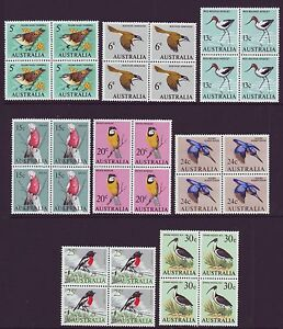 1966 DECIMAL BIRDS IN MINT UNHINGED BLOCKS OF 4 - POSTAGE FREE