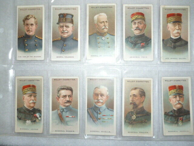 Cigarette Cards - Allied Army Leaders, Wills 1917 - Full Set of (50) WW1