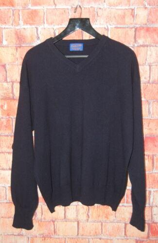 Mens XL Classic Pendleton Navy Blue Wool V Neck Sw