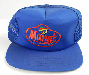 952c1765 Details about Vtg. Mann's Bait Company Fishing Cap Blue Mesh Trucker  Snapback Hat Embroidery