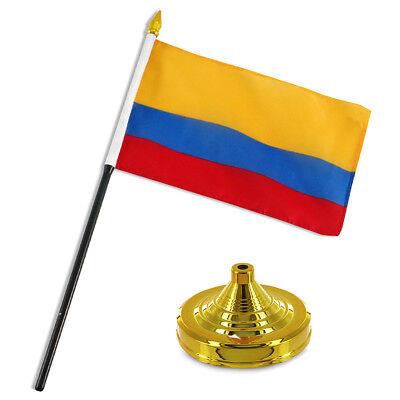 "Colombia 4/""x6/"" Flag Desk Set Table Stick Gold Base"