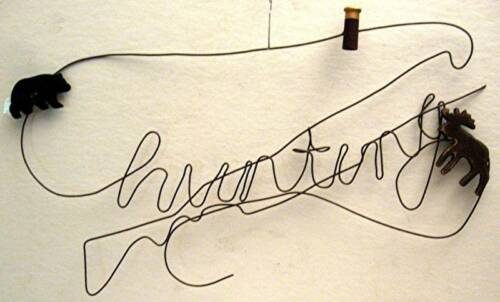 Hunting Twisted Wire Art Rustic Old Style Hanging Sign
