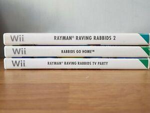 Nintendo Wii 3 Game Bundle - Rayman Raving Rabbids TV Party, Go Home & Rabbids 2