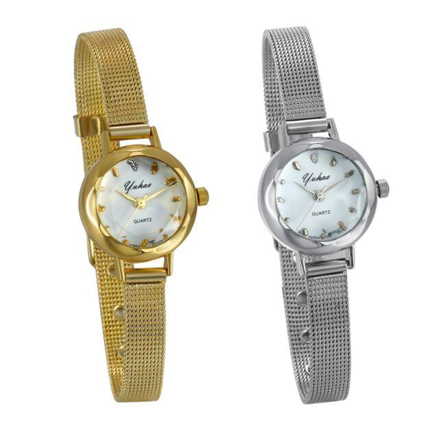 Luxury Women's Gold Silver Tone Stainless Steel Strap Quartz Analog Wrist Watch