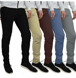 Herren Designer Chino Hose Stretch Stoff Chinohose Slim Fit Casual Trousers