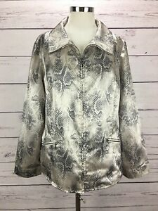 Weekends-by-Chicos-2-Women-s-Size-L-Jacket-Animal-Print-Zip-Front-Pocket-Sateen