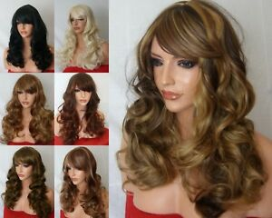Ladies Women Long Highlight Blonde Black Synthetic Fashion Costume Wig style B