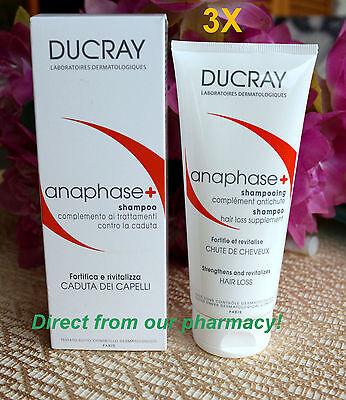 3XDucray Anaphase shampoo 3x200 ml-6.76 Fl.Oz.Hair Loss Prevention. EXP 2019
