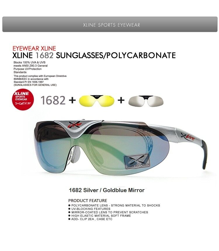 [XLINE] 1682 + Extra CYCLING 2Lens Sports Sunglasses Polarized Mirrorosso CYCLING Extra Poor Eye 6d34ec