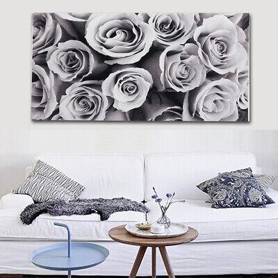 45x80cm Large Frameless Rose Black White Grey Canvas Wall Art Picture Decor
