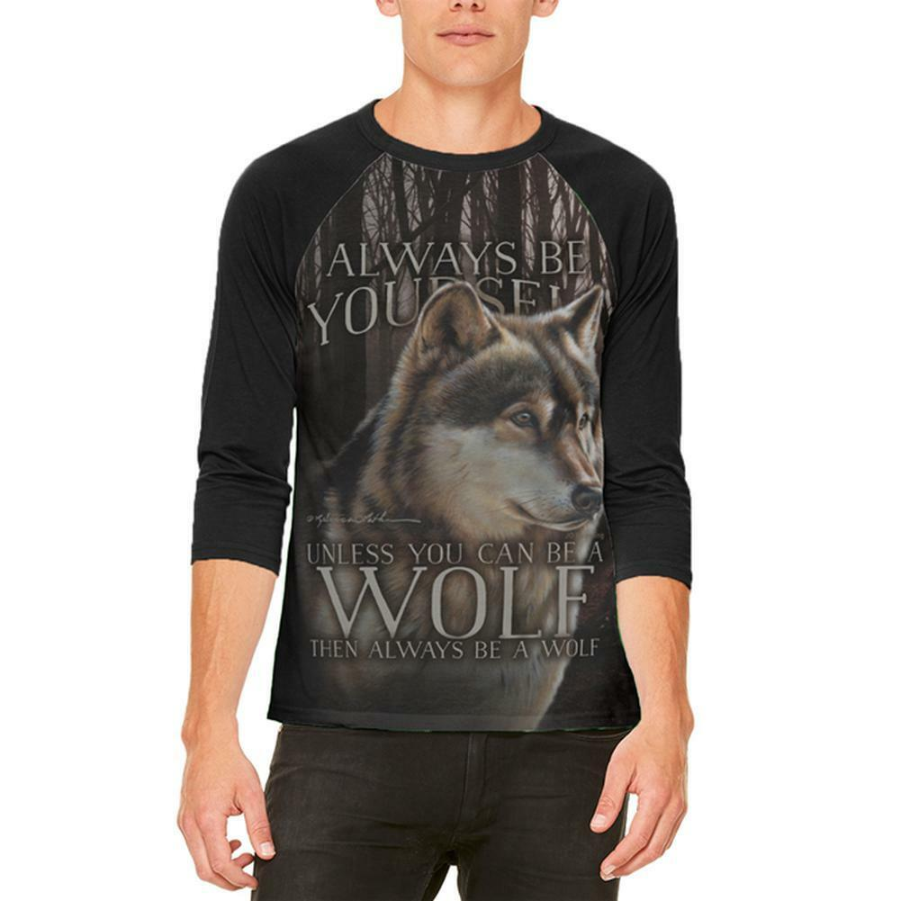 Always Be Yourself Unless Timber Wolf Mens Raglan T Shirt