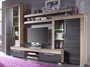 Wohnwand Boom Nussbaum Satin Wohnzimmer Schrankwand Möbel mit Beleuchtung 310 cm