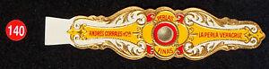 140R-MEXICO-VITOLA-Old-Cigar-Band-Marca-PERLAS-FINAS-ANDRES-CORRALES-Y-CIA