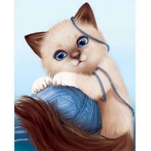 5D DIY Diamond Painting Wool Lovely Cat Cross Stitch Embroidery Rhinestones N#S7