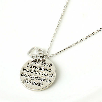 Retro Family Necklace Pendant Gift Fashion Silver Heart Love Charm Chain Jewelry