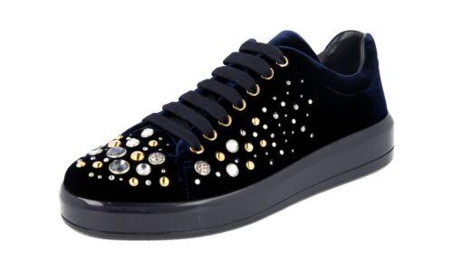 5 Strass Schuhe 1e971h Blau Samt Mit 38 Prada Extravagante 38 Sneaker 6Y7ybfg