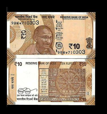 98L 2018 R Inset UNC India Gandhi 10 Rupee Star Replacement Banknote