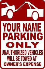 """(4) CUSTOMIZED (NAME) PARKING ONLY CORRUGATED PLASTIC SIGN 9""""X12"""" NO PARKING"""