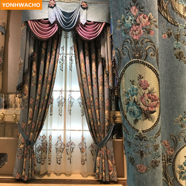 European chenille embossed jacquard luxury cloth blackout curtain valance N985