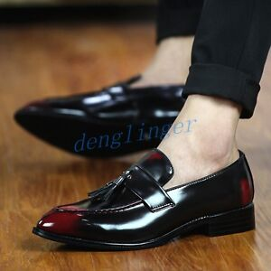 Mens-Retro-Tassel-Slip-On-Dress-Formal-Wedding-Patent-Leather-Loafers-Chic-Shoes