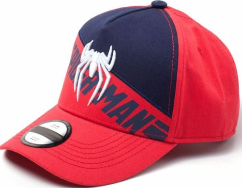 Spider-Man PS4 Embroidered Logo Print Curved Bill Cap Red//Blue