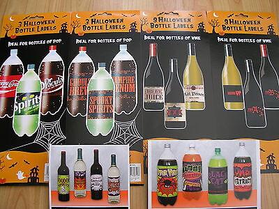 halloween/fête/noël vin et pop bouteille adhésif étiquettes