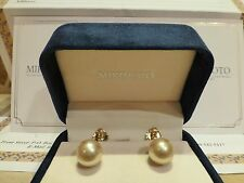 Mikimoto 18k yellow gold 11mm golden cultured pearl stud earrings $8k South Sea