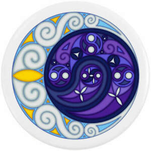 'Celtic Spiral Moon' Button Pin Badges (BB023624)